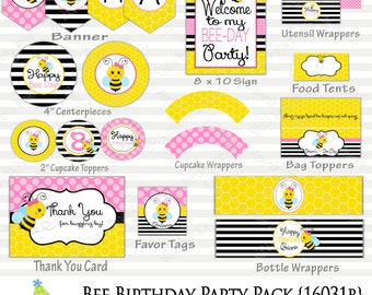 Bee Birthday Party Package | Bumble Bee Party | Printable Party Pack |  Design 16031B