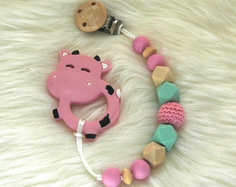 Pink Cow Teether and Pacifier Clip