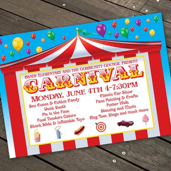 carnival invitations, carnival birthday invitations, big top birthday party invitations, community carnival invitations, IN195