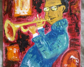 FREE SHIPPING Original oil painting Musician