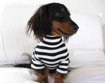 Striped Tee Black and White Dog Tee T-Shirt Accessories Designer Fashion Apparel Pet Clothing Clothes Top Basic Jersey Shirt Pablo & Co.