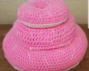 Crocheted doughnut cushions set of 3.