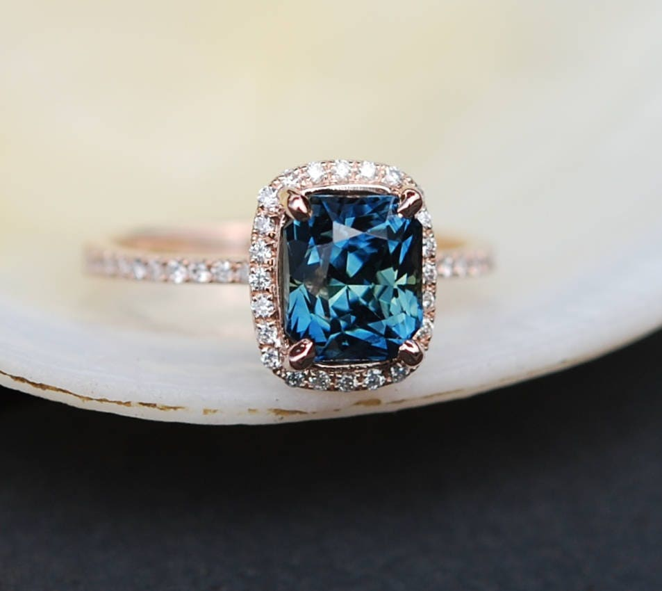 ring peacock rose cushion halo rings diamond fullxfull engagement il gold eidelprecious by listing green sapphire blue