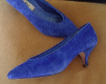 "Royal Blue Suede ""Louis"" Mid-Heel Pumps Like- New  Size 7B  Item #54  Shoes"