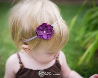 Purple Flower Headband, Baby Headband, Toddler Headband, Purple Headband, Flower Headband, Dainty Headband, Hydrangea Flower Headband