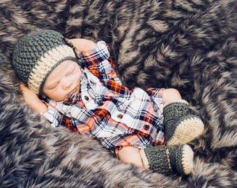 Crochet Hat Pattern and Crochet Booties Pattern - Chunky Set, Crochet Hat Pattern and Baby Booties Pattern for Baby Boy, Pdf Pattern