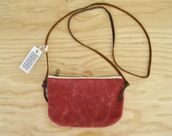 Waxed Canvas Mini Cross Body Bag - brick red mini zipper bag with adjustable brown leather strap