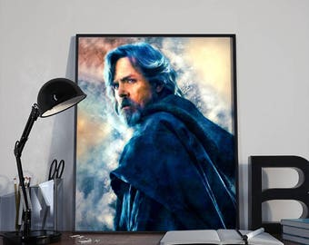 Luke Skywalker Star Wars Art Print Poster - Episode VII The Last Jedi PRINTABLE 8x10 inches and A4 - Ideal Last Minute Gift