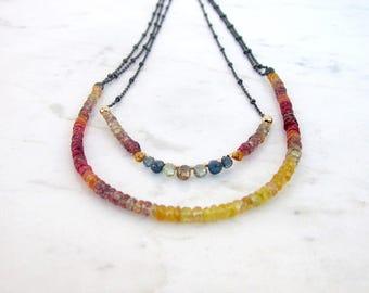 Sapphire necklace, ombre Sapphire necklace, Sapphire jewelry, September birthstone, oxidized sterling silver chain precious stone necklace