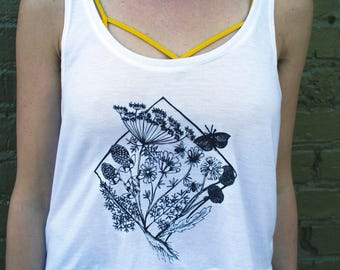 Boxy Crop Top Wildflowers Woodland, White Tank Loose Flowy, Black and White Simple, Screenprinted Handmade, Steampunk Folk Nature Shirt