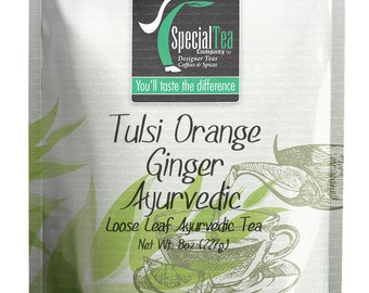 8 oz. Tulsi Orange Ginger Ayurvedic Herbal Tea with Free Tea Infuser