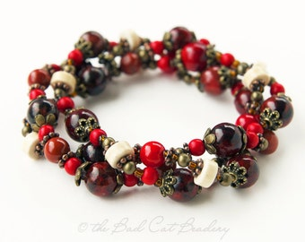 Boho Beaded Stack Stretch Bracelet in Ivory, Red, Rust Red, Bronze, Black, Copper, Brown Three Bracelets in One