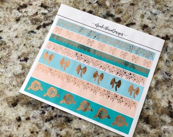 FOIL Succulent Washi Strips , Foil Planner Stickers