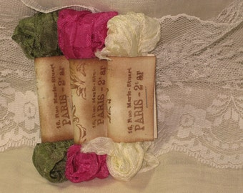 French Inspired Seam Binding Ribbon Distressed and Scrunched  - Passion - French Marche (SB022)