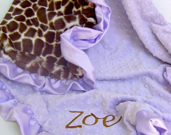 Lavender and Giraffe Minky Blanket