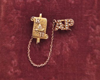Vintage 9k 10k Gold Sorority School Pin - 1930 Kappa Delta Pi scroll Alpha Rho chapter - AP with tiny seed pearls on chain - beehive stars