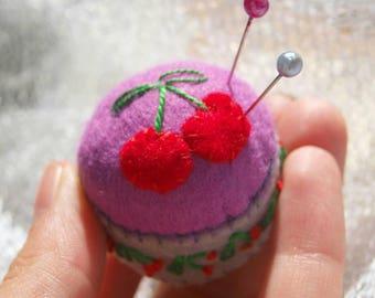 Miniature pincushion - CHERRY - 100% wool felt mini cushion for pins , bottle cap ,  recycled , thecraftdesk
