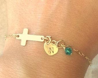 mother daughter bracelet, sideways cross bracelet, personalized cross bracelet, cross bracelet, initial bracelet, first communion gift
