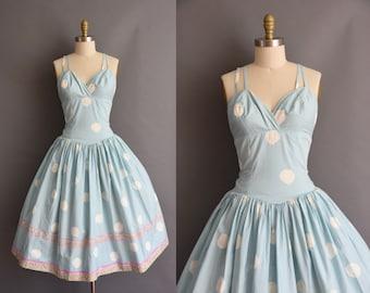 vintage 1950s blue cotton full skirt sun dress Large XL 50s vintage blue cotton full skirt sun dress