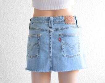 Levis High Waisted Skirt Vintage Levi High Waist Denim Mini Skirt 90s Clothing 90s Grunge denim Skirt Jean Skirt High Waisted Mini Skirt XS