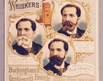Victorian Trade Card 1800s, Victorian Gentleman With Different Color Styles Of His Beard, Buckinghams Dye, A Wonderful Antique Collectible