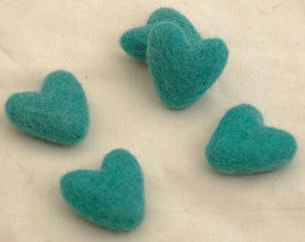 100% Wool Felt Hearts - 5 Count - Teal - Approx 3.5cm (1.38 inches)