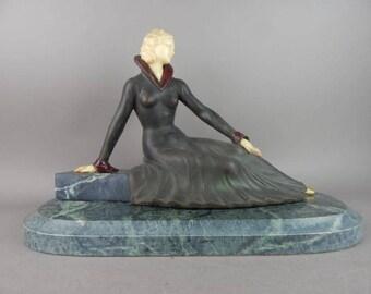 French Art Deco style figural lady chryselephantine sculpture signed MELANI