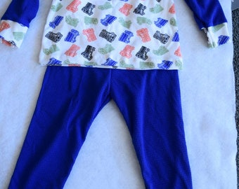 Thermal Pajamas  with Truck Design for 3T Toddler