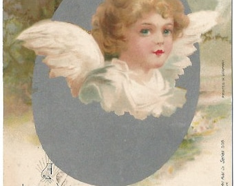 Happy and Peaceful Easter Angel Hatching out of Easter Egg  Railroad Postage 1 Cent 1906 Over 100 years old Vintage Postcard