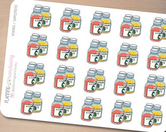 Vitamins / Supplements Planner Stickers Perfect for Erin Condren, Kikki K, Filofax and all other Planners