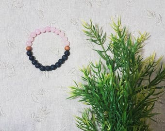 Love and Ground Bracelet~Rose Quartz; Lava Rock; Sandalwood