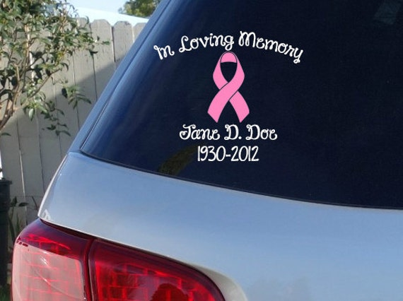 Breast cancer in loving memory car window decal car decals