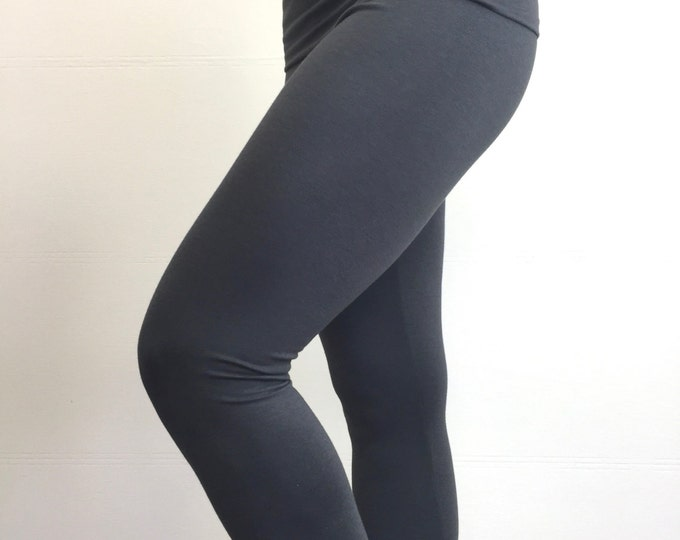 High-Waisted Bamboo Terry Leggings ~ Charcoal Grey by So-Fine