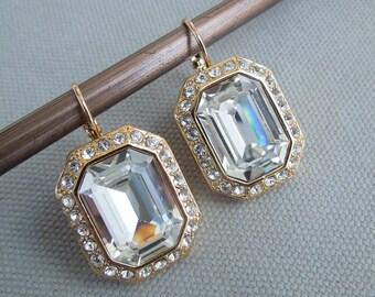Bridal Earrings Swarovski Earrings Chandelier Earrings Long Rhinestone Earrings Wedding Crystal Earrings Statement Bridal Earrings CECI