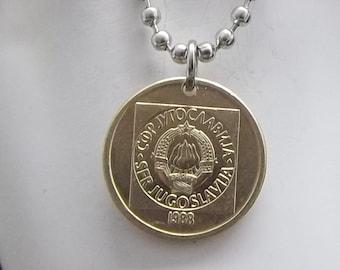 Yugoslavia Coin Necklace, 20 Dinara, Ball Chain, Coin Pendant, Men's Necklace, Women's Necklace, 1988