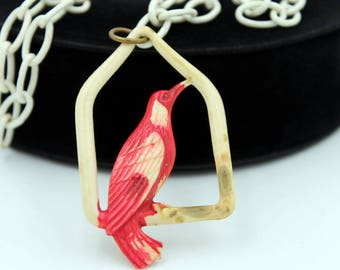 Celluloid Bird Necklace on Celluloid Chain, Celluloid Jewelry