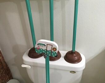 Plunger Retro Camper Upcycled Aqua Peach Bathroom Decor Handmade Hand Painted Gift Idea