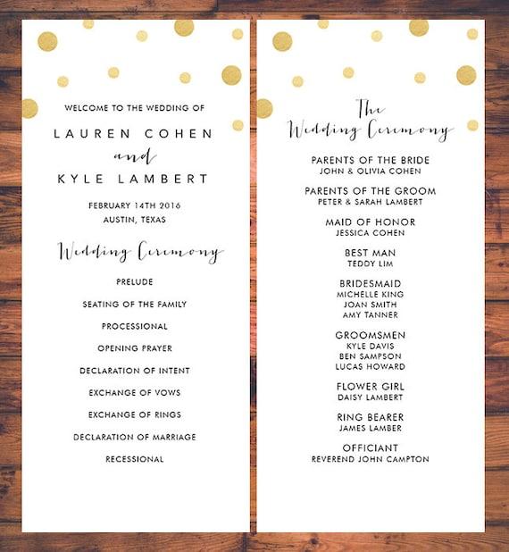 Confetti Wedding Ceremony Programs Card Initial Minimal Simple