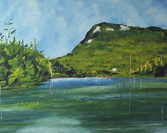 """Original Large Landscape Oil Painting Impressionist Lake Appalachian Quebec Canada By Fournier """" Cherry Pond, Orford National Park """" 30 x 40"""