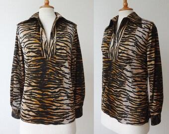80s Vintage Tiger Print Top // Size M