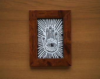 Framed A6 Lino Print - Hand