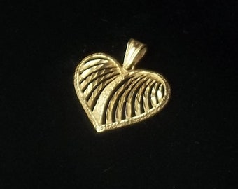 Vintage 1970's 14 K Solid Yellow Gold Open Work Heart Pendant Necklace Fine Jewelry Valentines Day Gift For Her on Etsy