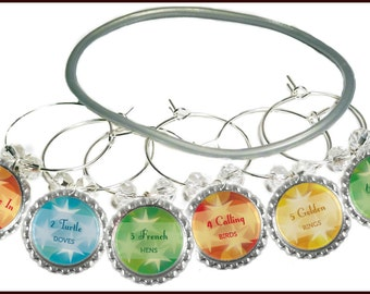 12 Days Of Christmas Wine Glass Charms - 12 charms/set