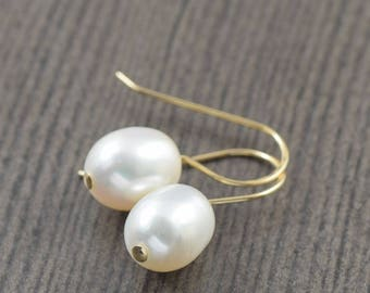 White pearl earrings gold filled earrings gifts for her