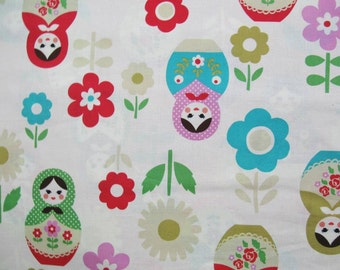 Matryoshka nesting dolls fabric by Kokka Trefle