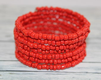 Coral red glass beads memory wire bracelet