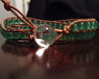 Natural leather wrap bracelet with green jade beads