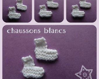 Booties: small knit in the shape of booties for scrapbooking, make, miniature decoration, baby shower