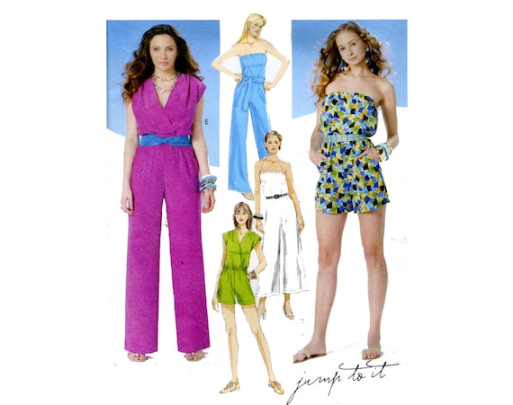 Easy Romper or Jumpsuit Pattern Strapless V Neck Cap Sleeve Summer ...