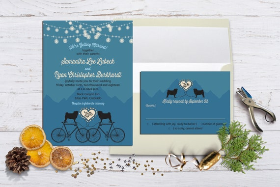 Pugs, Bikes and Mountains - Wedding or Eloped Reception/Party Invitation with Envelopes, Casual Fun Event Invitations, RSVP Available